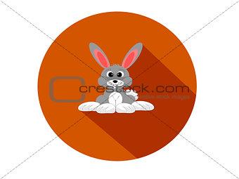 Grey rabbit flat design circular icon