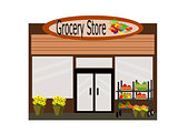 Icon Flat Design Grocery Store Isolated