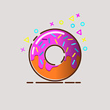 Donut delicious with sprinkles isolated on background. Vector doughnut icon, donuts coffee, donuts logo, donut shop, donut sweet, donut isolated, donut food.