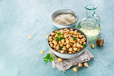 Chickpeas, sesame seeds and oil.