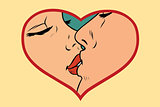 Man and woman kissing, love heart