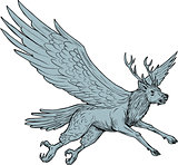 Peryton Flying Side Drawing