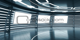 Abstract futuristic interior with glowing panels