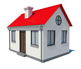 Small house with red roof on white background