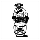 pirate sitting on a barrel