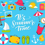 Summer Time Lettering Postcard