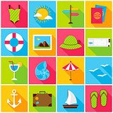 Summer Travel Colorful Icons