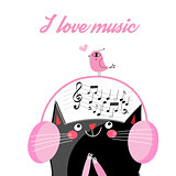Vector funny cat in headphones