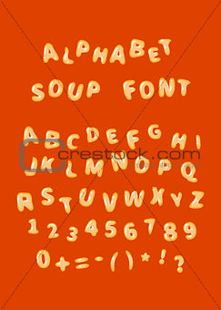 Alphabet soup font letters on red
