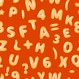Alphabet soup latin on red seamless pattern