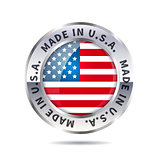 Metal badge icon, made in USA with flag