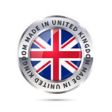Metal badge icon, made in United Kingdom with flag