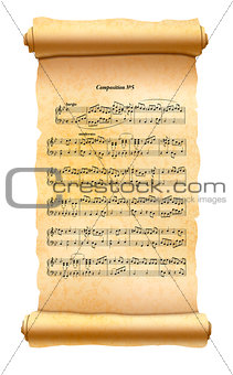 Old textured scroll with musical composition sheet isolated on white