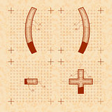 Medieval inventor sketches of special letters. Retro style font on old textured paper