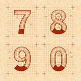 Medieval inventor sketches of 7 8 9 0 letters. Retro font on old yellow textured paper