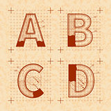 Medieval inventor sketches of A B C D letters. Retro font on old yellow textured paper