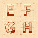 Inventor sketches of E F G H letters. Retro style font on old yellow textured paper