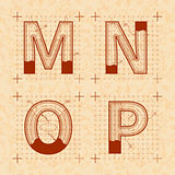Medieval inventor sketches of M N O P letters. Retro style font on old yellow paper