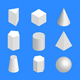 Simple geometric figures isometric, vector illustration.