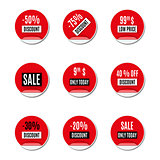 Set of red paper stickers of discount and sale, vector illustration.