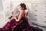 Bride in violet wedding dress