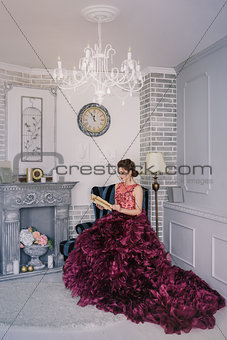 Bride in violet wedding dress