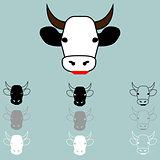 Cow face different colour icon.