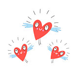 Vector funny flying hearts