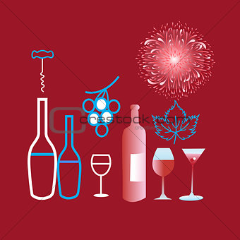 Poster graphics of different wine and glasses