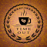 Coffee cup and time out text