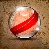 Transparent sphere with red lines