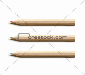 Three colored wooden pencils