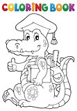 Coloring book school theme crocodile