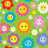 Happy flower heads seamless background 1