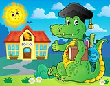 School theme crocodile image 2