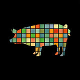 Pig farm mammal color silhouette animal