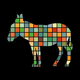 Donkey farm mammal color silhouette animal