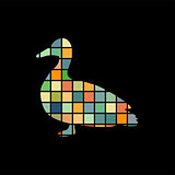 Duck bird color silhouette animal