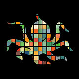 Octopus nautical color silhouette animal