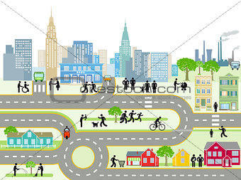 City with people and streets, illustration
