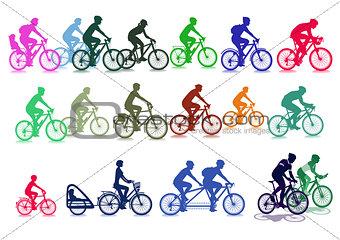 Cyclist set illustration, isolated