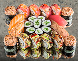 Sushi set on concrete background
