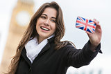 Woman Tourist Taking Selfie by Big Ben, London, England