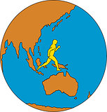 Marathon Runner Running Around World Asia Pacific Drawing