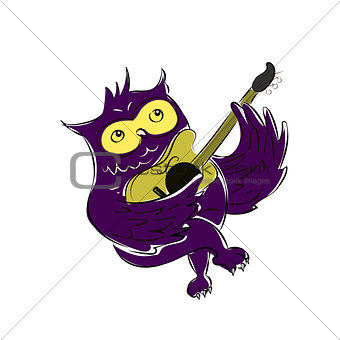 A Cute Owl Singing While Strumming His Guitar - Vector Illustration