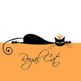 Royal black cat design. Vector illustration