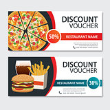 Discount voucher fast food template design. Set of pizza, hambur