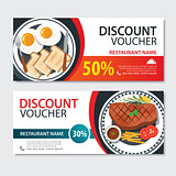 Discount voucher american food template design. Set of steak and