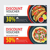 Discount voucher mexican food template design. Set of kebab