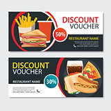 Discount voucher fast food template design. Set of pizza, sandwi
